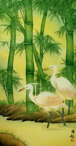 Asian Egrets and Green Bamboo Wall Scroll close up view