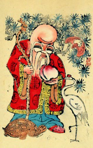 Longevity Saint - Woodblock Print Wall Scroll close up view