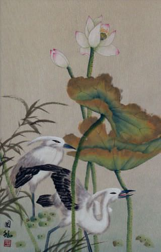 Egrets and Lotus Flower Wall Scroll close up view