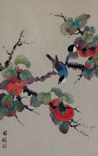 Birds and Persimmons Wall Scroll close up view