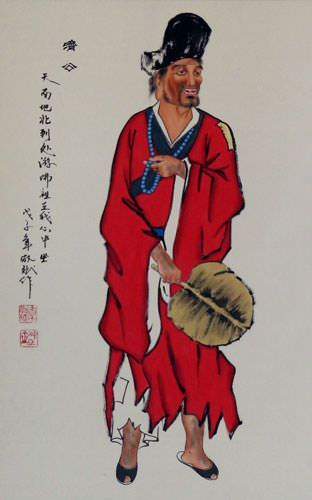 The Mad Monk - Ji Gong - Wall Scroll close up view