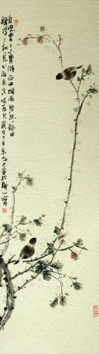 Birds and Persimmon Branch - Chinese Wall Scroll close up view