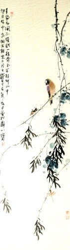 Bird on a Branch - Bird and Flower Chinese Wall Scroll close up view