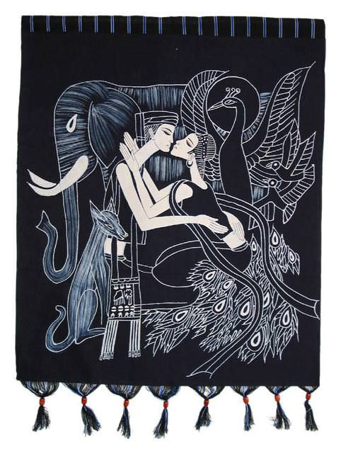 Lovers Kiss Batik Wall Hanging