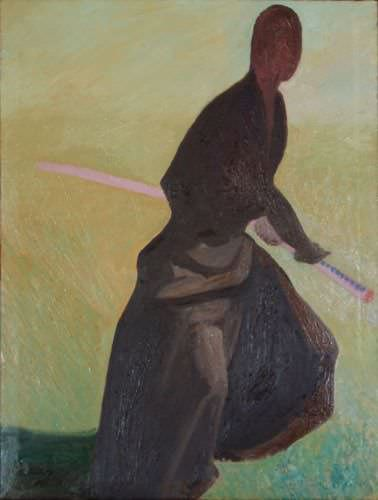 "See how ""Sword Saint (Kensei) - Japanese Oil Painting"" would look after being professionally framed"