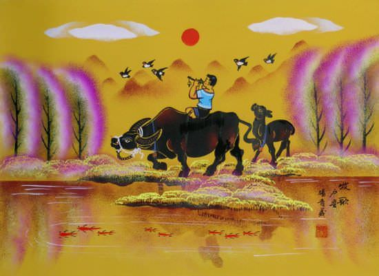 "See how ""Song for the Herd - Chinese Folk Art"" would look after being professionally framed"