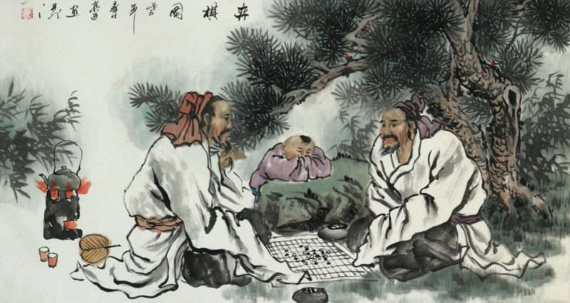 Men Playing Chess (Weiqi) - Large Painting