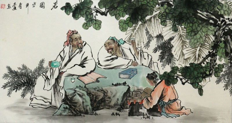 Men Writing Poetry and Philosophy Large Painting