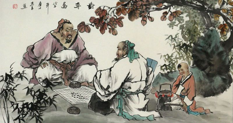 Playing Chinese Chess - Ancient Style Painting