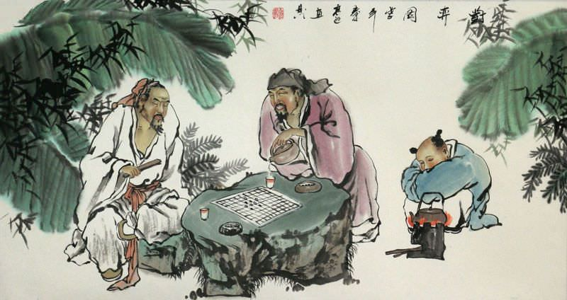 Big Men Playing Chess (Weiqi) Painting