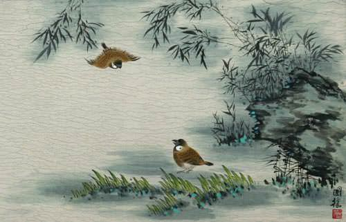 Traditional Chinese Birds and Bamboo Painting