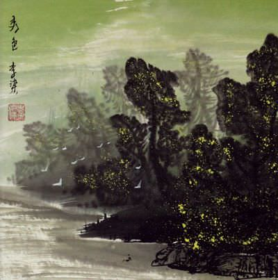 Birds at the River Bank - Chinese Landscape Painting