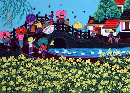 March Market - Over the Bridge - Chinese Folk Art Painting
