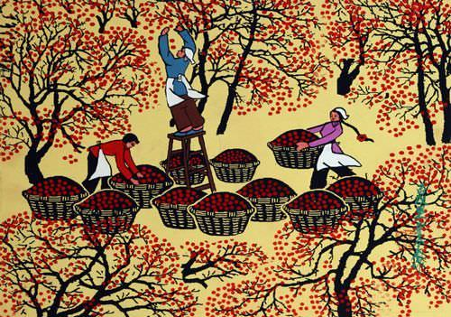 "See how ""Fruit Collecting - Folk Art Painting"" would look after being professionally framed"
