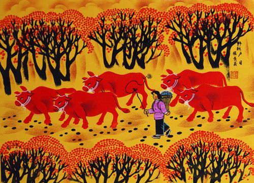 "See how ""Autumn Fields - Chinese Folk Art Painting"" would look after being professionally framed"