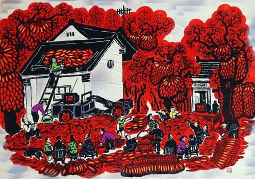 Drying Peppers - Chinese Folk Art Painting