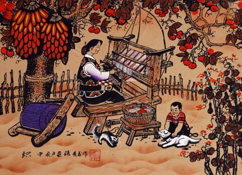 Chinese Loom - Weaving Folk Art Painting