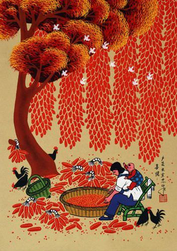 Joy and Happiness - Chinese Peasant Folk Art Painting
