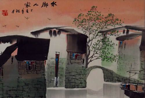 Chinese Venice - Birds Over Suzhou - Painting