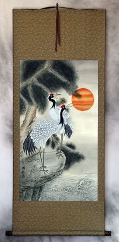 Antique-Style Cranes and Pine Tree Wall Scroll
