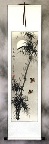 Chinese Birds and Bamboo Silk Wall Scroll