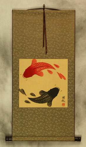 Antiqued Yin Yang Fish Silk Wall Scroll