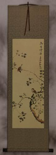 Gaze of the Couple - Bird and Flower Wall Scroll