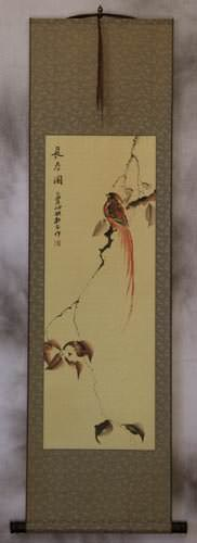 Longevity - Bird and Flower Wall Scroll