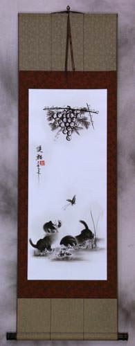 Charcoal Kittens Butterfly, Cricket & Grapes Wall Scroll