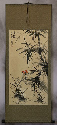 Chinese Black Ink Birds and Bamboo Wall Scroll