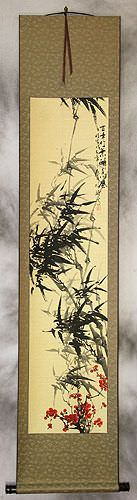 Black Ink Bamboo and Plum Blossom Chinese Wall Scroll
