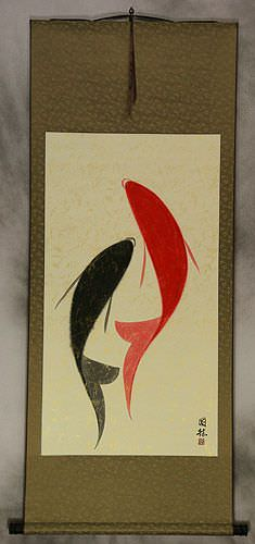 Large Abstract Yin Yang Fish Painting Wall Scroll
