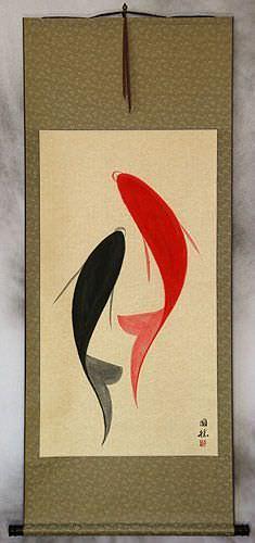 Large Abstract Yin Yang Koi Fish Wall Scroll