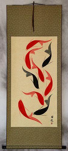 Jumbo Nine Abstract Koi Fish Wall Scroll