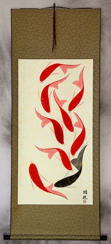 Huge Nine Abstract Koi Fish Asian Wall Scroll