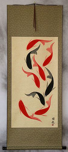 Large Nine Abstract Asian Koi Fish Wall Scroll