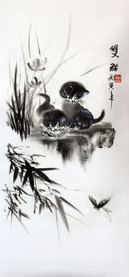 Kittens and Butterfly Charcoal Drawing