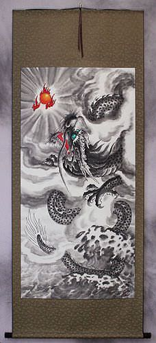 Chinese Dragon In Flight Asian Wall Scroll Tigers