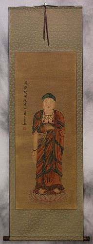 Image of the Buddha - Partial-Print Wall Scroll