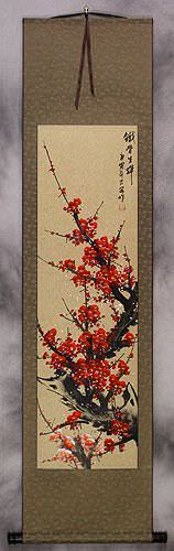 Red Plum Blossom Wall Scroll