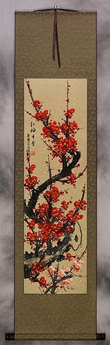 Colorful Red Plum Blossom Wall Scroll