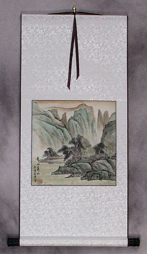 Scenic Lake and Mountains - Landscape Wall Scroll