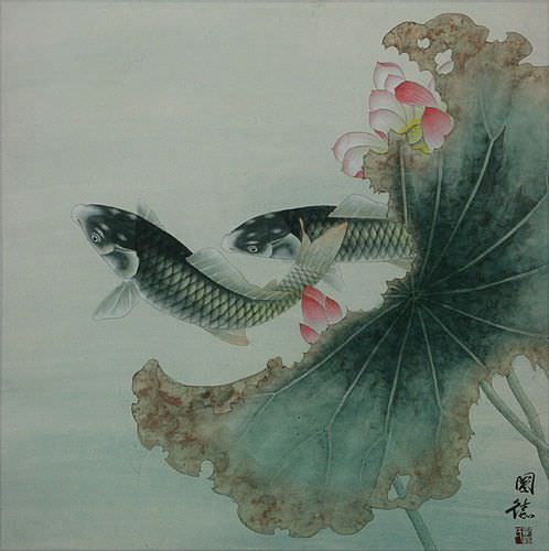Koi fish and lotus flower sophisticated chinese painting for Japanese koi carp paintings