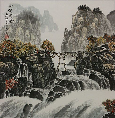 Charm of the Mountain River and Wind - Landscape Painting