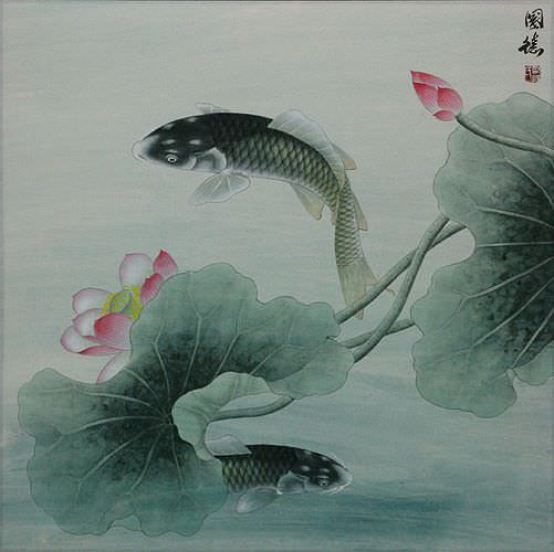 Koi Fish and Lotus Flower - Subdued Chinese Painting