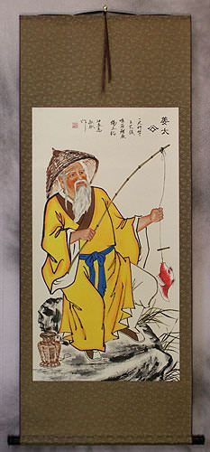 Old Chinese Man Fishing Wall Scroll