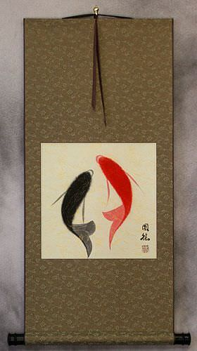 Abstract Yin Yang Fish Art Wall Scroll