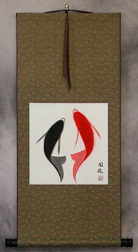 Abstract Yin Yang Fish - Chinese Wall Scroll