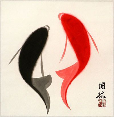 Abstract Yin Yang Fish Portrait