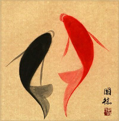 Abstract Yin Yang Fish Painting